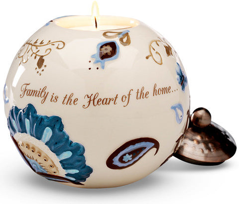 Family is the Heart of the home Family is a Gift that lasts Forever - Candle Holder by Perfectly Paisley - Beloved Gift Shop