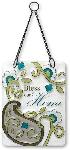 Bless our Home Hanging Glass Plaque by Perfectly Paisley - Beloved Gift Shop