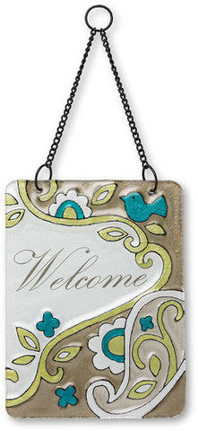 Welcome Hanging Glass Plaque by Perfectly Paisley - Beloved Gift Shop