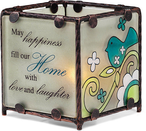 May happiness fill our Home with love and laughter - Candle Holder by Perfectly Paisley - Beloved Gift Shop
