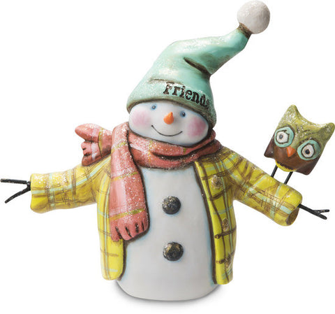 Friends Snowman with Owl Figurine by Roly Poly Christmas - Beloved Gift Shop