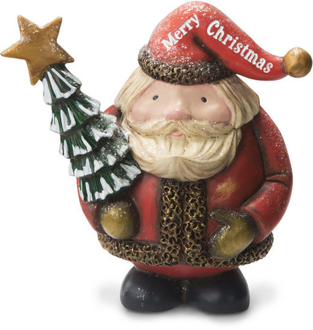 Santa Claus Merry Christmas Santa Holding Tree Figurine by Roly Poly Christmas - Beloved Gift Shop