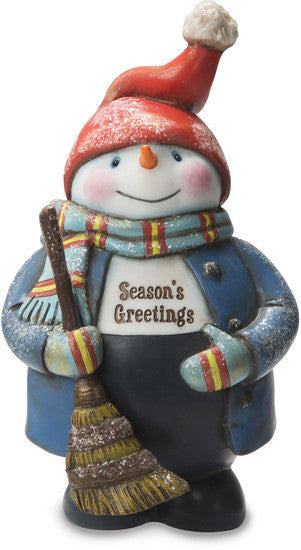 Season's Greetings Snowman Holding Broom Figurine by Roly Poly Christmas - Beloved Gift Shop