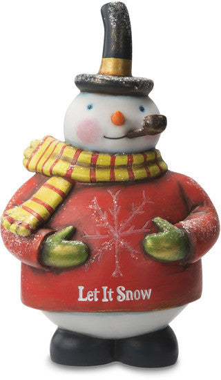 Let It Snow Snowman with Snowflake Sweater Figurine