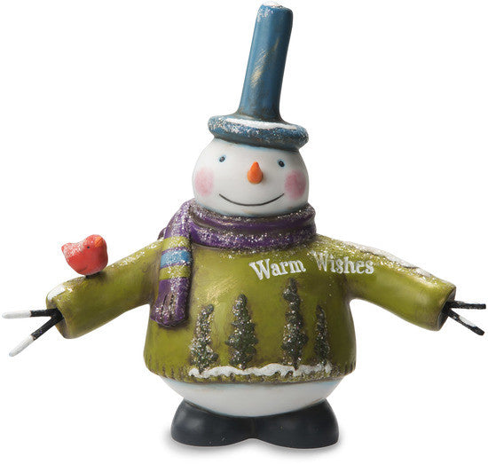 Warm Wishes Snowman with Bird Figurine by Roly Poly Christmas - Beloved Gift Shop