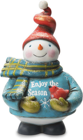 Enjoy the Season Snowman Holding Bird Figurine by Roly Poly Christmas - Beloved Gift Shop