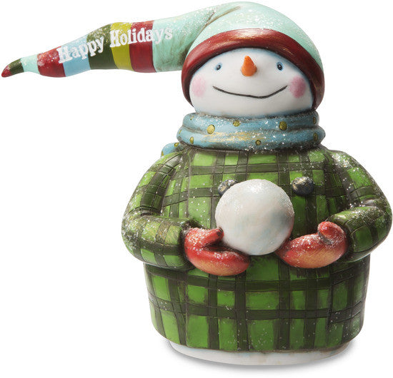 Happy Holidays Snowman Holding Snowball Figurine
