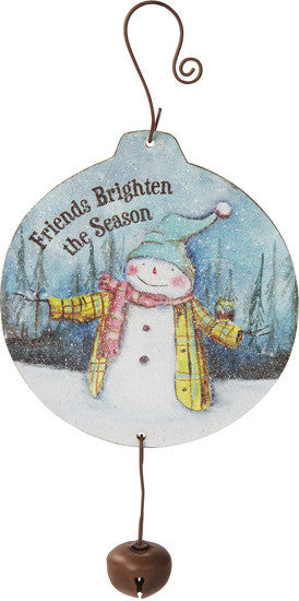 Friends brighten the season MDF Wood Christmas Ornament by Roly Poly Christmas - Beloved Gift Shop