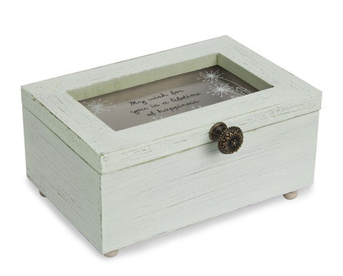 My wish for you is a lifetime of happiness Keepsake Jewelry Box by Dandelion Wishes - Beloved Gift Shop
