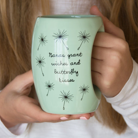 Nanas grant wishes and butterfly kisses Mug by Dandelion Wishes - Beloved Gift Shop