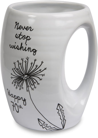 Never stop wishing. Happy 70th Coffee Mug Mug - Beloved Gift Shop