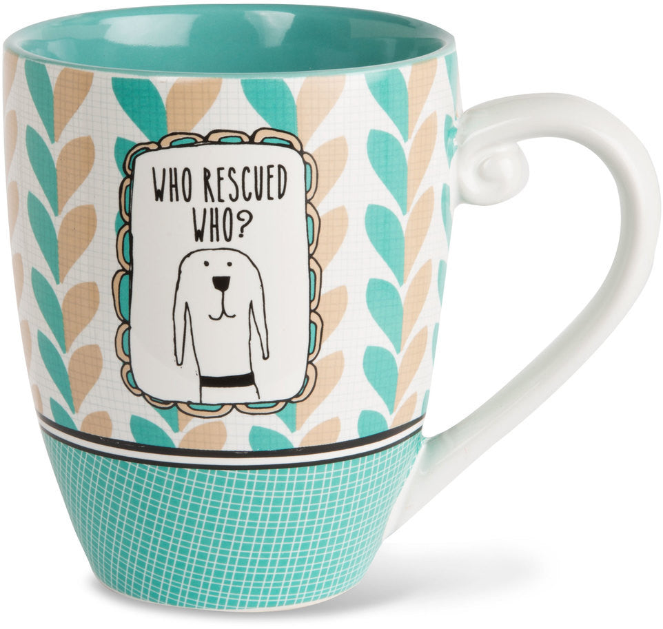 Who rescued who? - Coffee & Tea Mug by It's Cats and Dogs - Beloved Gift Shop