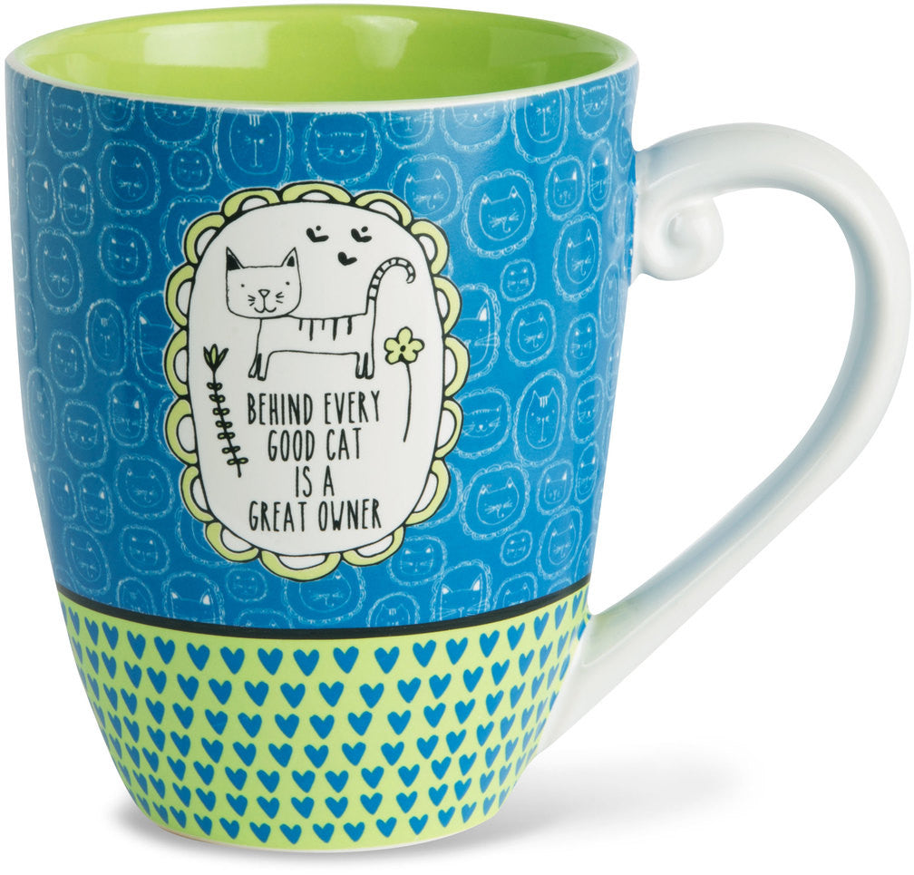 Behind every good cat is a great owner Mug by It's Cats and Dogs - Beloved Gift Shop