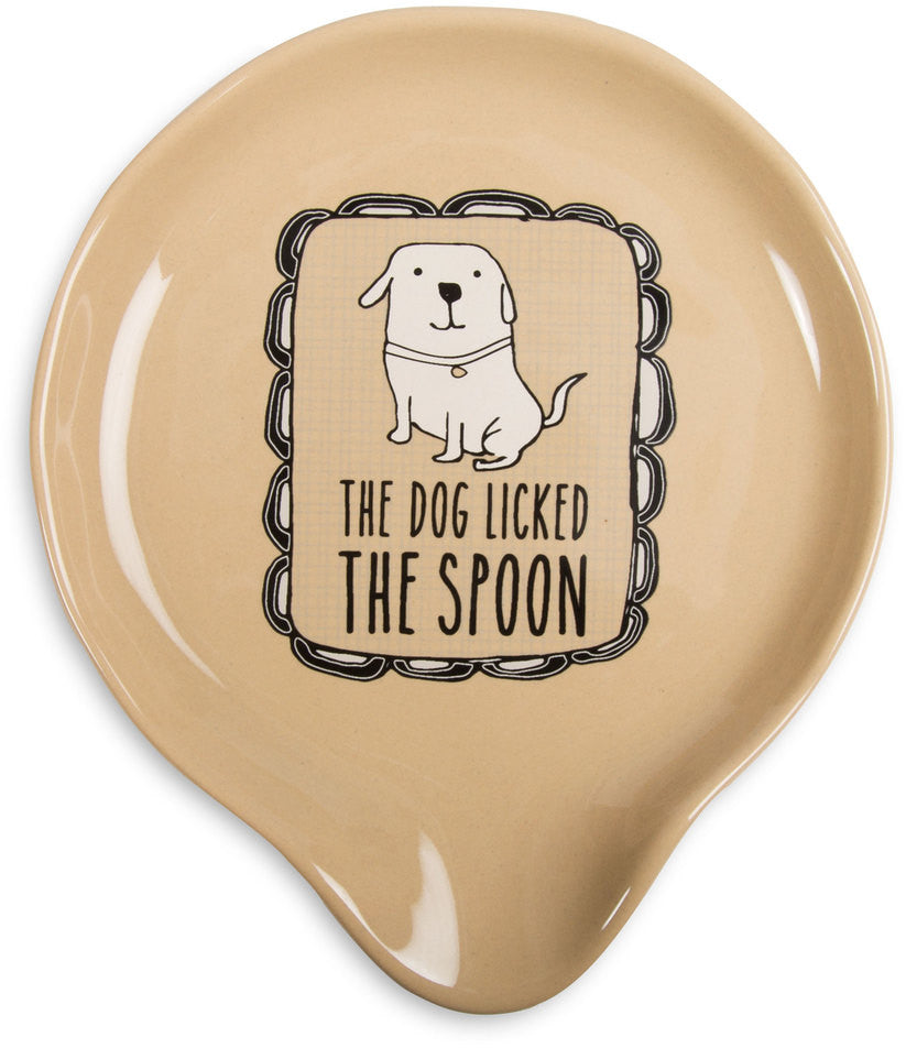 "The dog licked the spoon - 5"" Spoon Rest by It's Cats and Dogs - Beloved Gift Shop"