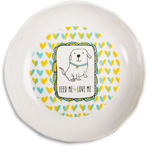 Feed me love me Doggie Shallow Feeding Bowl Doggie Bowl - Beloved Gift Shop