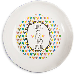 Feed me love me Kitty Shallow Feeding Bowl Kitty Bowl - Beloved Gift Shop