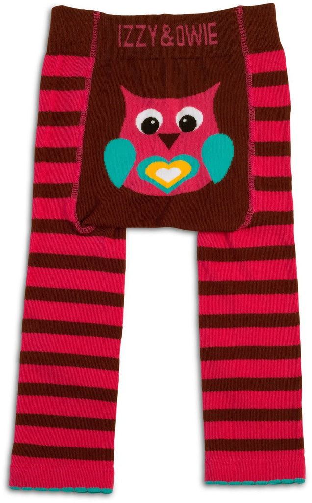Pink and Brown Owl Baby Leggings Baby Leggings Izzy & Owie - GigglesGear.com