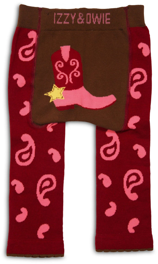 Red and Pink Cowgirl Baby Leggings Baby Leggings Izzy & Owie - GigglesGear.com