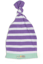 Blue and Lavender Stripe Knotted Baby Hat