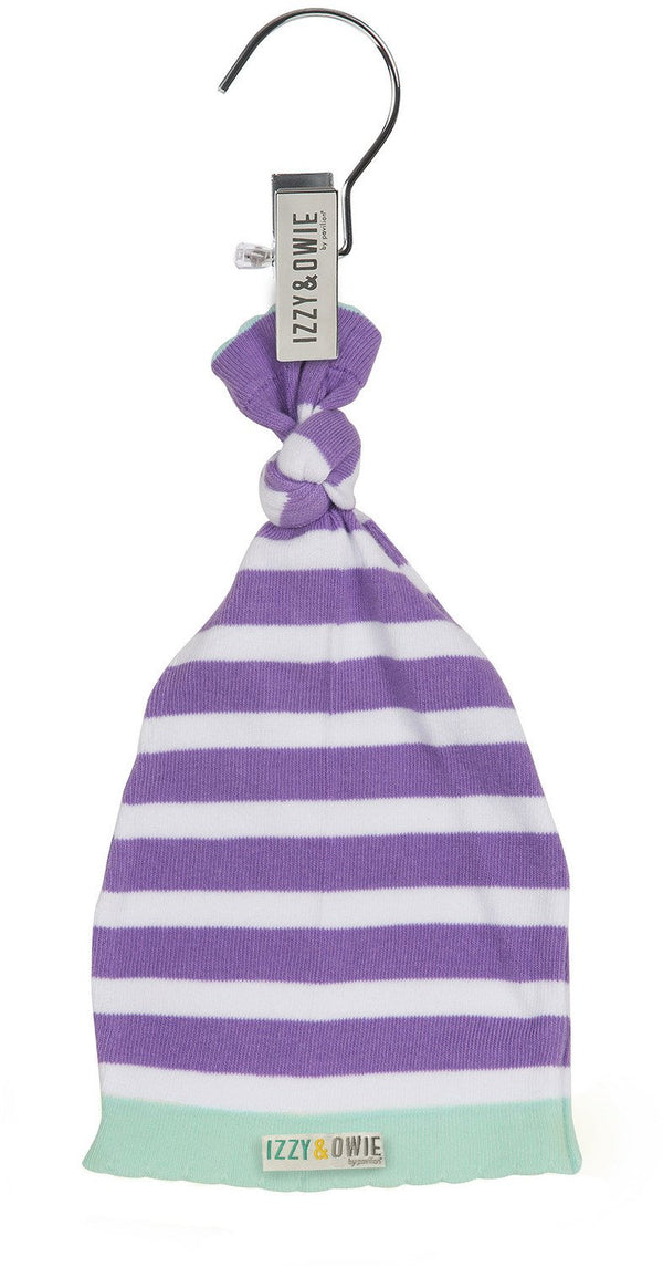 Blue and Lavender Stripe Knotted Baby Hat Baby Hat Izzy & Owie - GigglesGear.com
