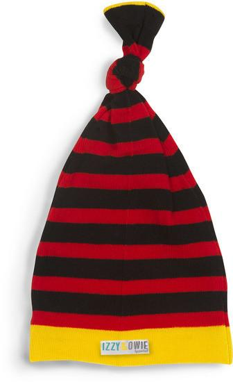 Red and Black Stripe Knotted Baby Hat Baby Hat Izzy & Owie - GigglesGear.com