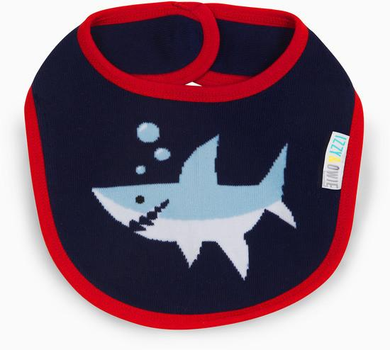 Red and Navy Shark Baby Bib Baby Bib Izzy & Owie - GigglesGear.com