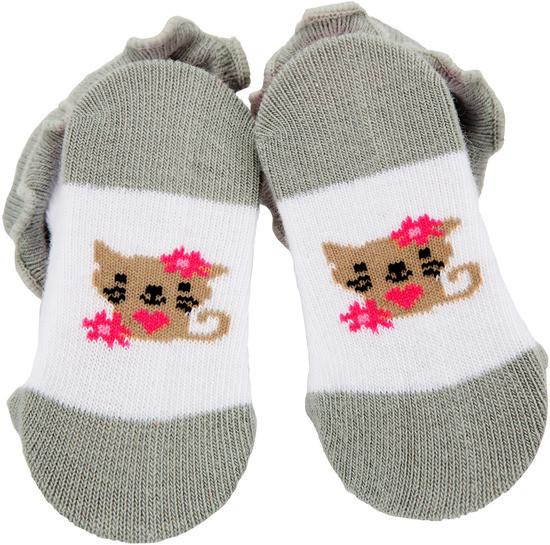 Pink and Gray Kitty Baby Socks Baby Socks Izzy & Owie - GigglesGear.com