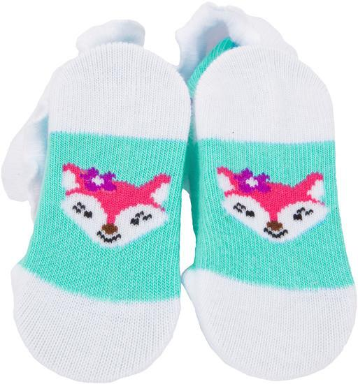 Aqua and White Fox Baby Socks Baby Socks Izzy & Owie - GigglesGear.com