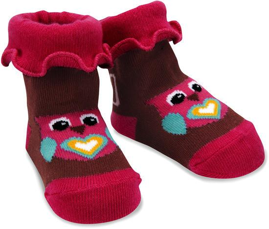 Pink and Brown Owl Baby Socks Baby Socks Izzy & Owie - GigglesGear.com