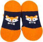 Orange and Navy Fox Baby Socks Baby Socks Izzy & Owie - GigglesGear.com