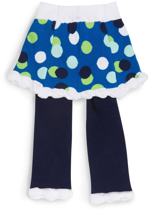 White & Navy Skirted Polka Dot Baby Leggings Baby Leggings Izzy & Owie - GigglesGear.com