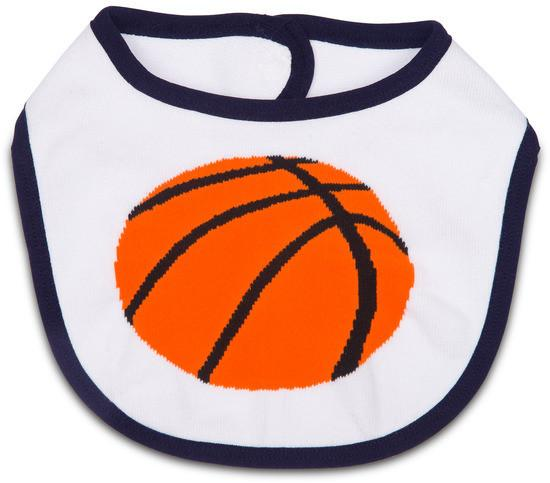 White and Orange Basketball Baby Bib Baby Bib Izzy & Owie - GigglesGear.com