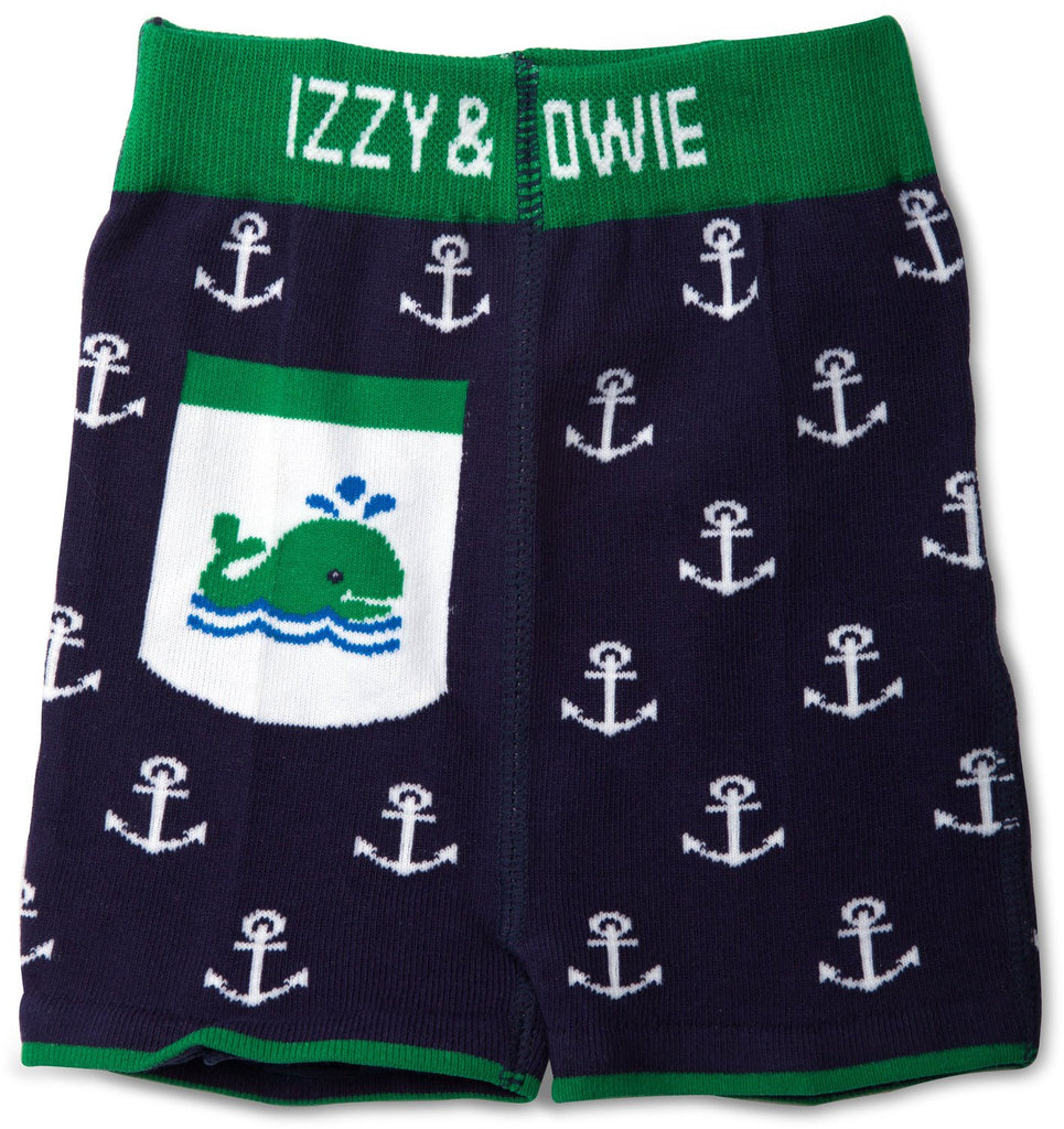 Blue and Green Whale Baby Shorts Baby Shorts Izzy & Owie - GigglesGear.com