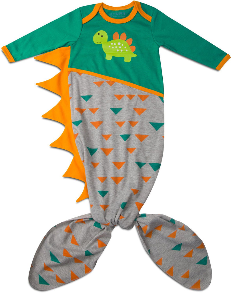 Teal and Gray Dino Knotted Baby Onesie 0-9 M Baby Onesie Izzy & Owie - GigglesGear.com