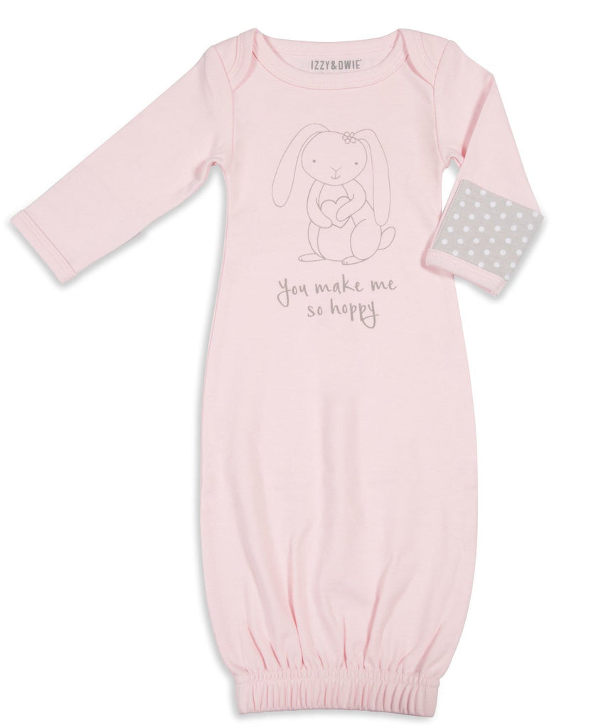 You make me so hoppy Baby Sleeping Gown w/Mitten Cuffs Baby Pajamas Izzy & Owie - GigglesGear.com