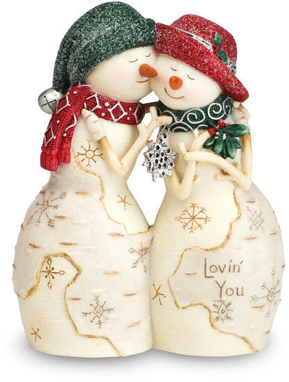 "Lovin' You - 4.5"" Mr./Mrs. Snowman Kiss Figurine by The Birchhearts - Beloved Gift Shop"