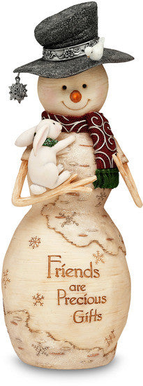 Friends are Precious Gifts Christmas Snowman Figurine by The Birchhearts - Beloved Gift Shop