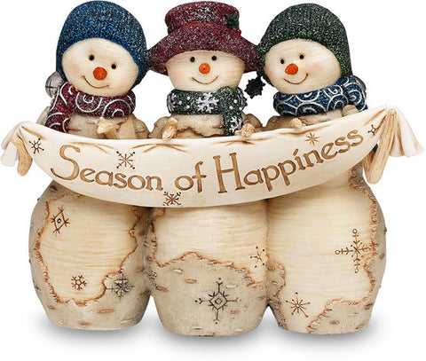 "Season of Happiness - 4"" Snowmen with Banner Figurine by The Birchhearts - Beloved Gift Shop"