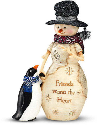 Friends warm the Heart Christmas Snowman Figurine by The Birchhearts - Beloved Gift Shop