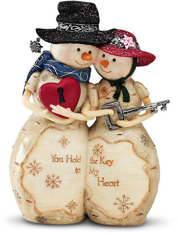 "Key to My Heart - 4.5"" Snow Couple w/Heart & Key Figurine by The Birchhearts - Beloved Gift Shop"
