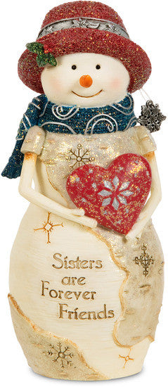 Sisters are Forever Friends Christmas Snowman Figurine by The Birchhearts - Beloved Gift Shop