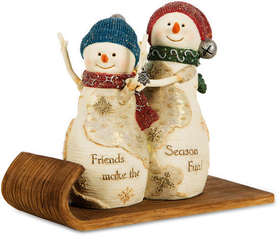 Friends make the Season Fun! Sledding Snowman Figurine by The Birchhearts - Beloved Gift Shop