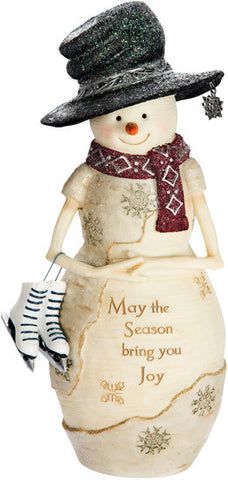 "May the Season bring you Joy - 9"" Snowman Holding Ice Skates Figurine by The Birchhearts - Beloved Gift Shop"