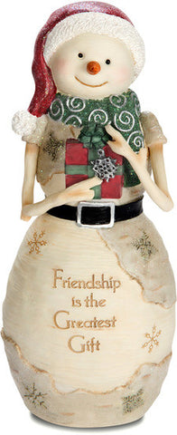 "Friendship is the Greatest Gift 7.5"" Snowman Holding Gift Figurine by The Birchhearts - Beloved Gift Shop"