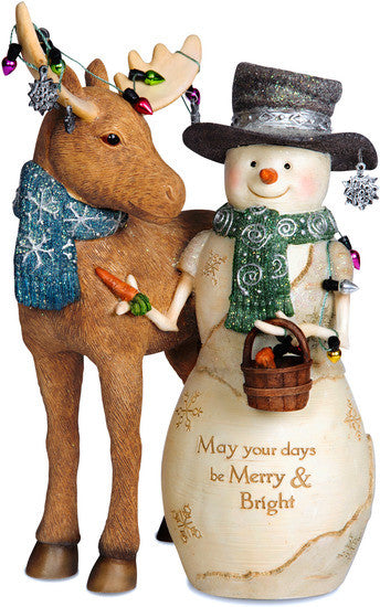 May your days be Merry & Bright Christmas Snowman Figurine by The Birchhearts - Beloved Gift Shop