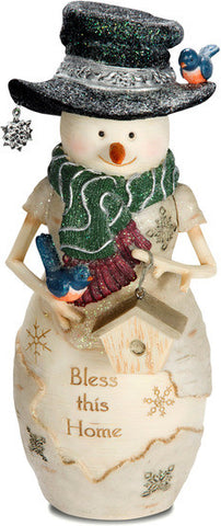 "Bless this Home - 7.5"" Snowman with Bird and Birdhouse Figurine by The Birchhearts - Beloved Gift Shop"
