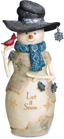 "Let it Snow - 6"" Snowman Holding Snowflakes and Cardinal Figurine by The Birchhearts - Beloved Gift Shop"