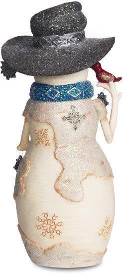 Let it Snow Snowman Holding Snowflakes & Cardinal Figurine Snowman Figurine - Beloved Gift Shop