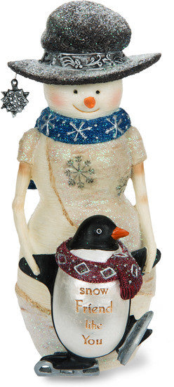 Snow Friend like You Snowman Holding Penguin Figurine Snowman Figurine - Beloved Gift Shop