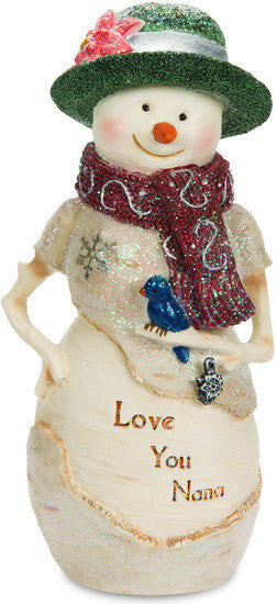 Love You Nana Snowman with Bird Figurine Snowman Figurine - Beloved Gift Shop